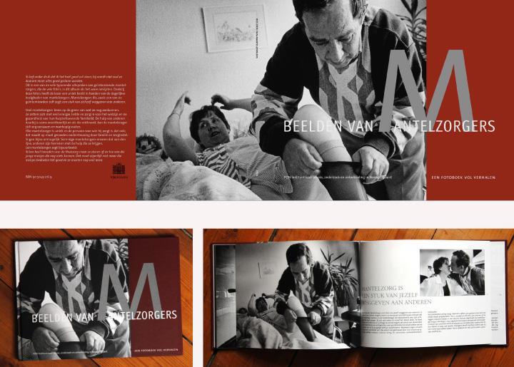 Boekontwerp 'Beelden van Mantelzorgers' van fotograaf Piet den Blancken, i.o.v. 'één Ontwerpers' te 's-Hertogenbosch.