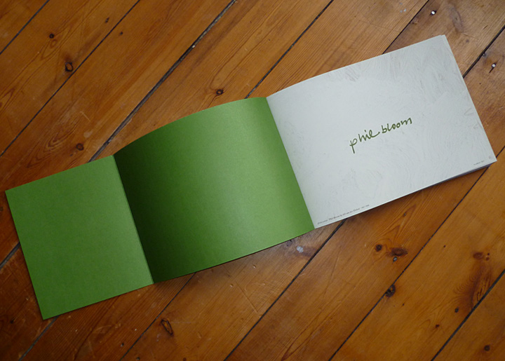 Boekontwerp (binnencover & openingspagina) kunstenares Phil Bloom - Biografie & Oeuvre
