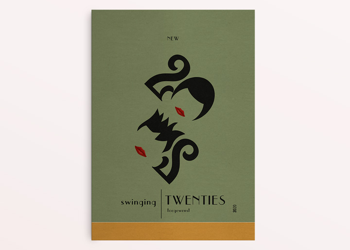 "Card / poster design ""New Swinging Twenties"". Typographic representation of the earlier twenties (1920) and the current 2020 with designed letter hairstyles ;-)"