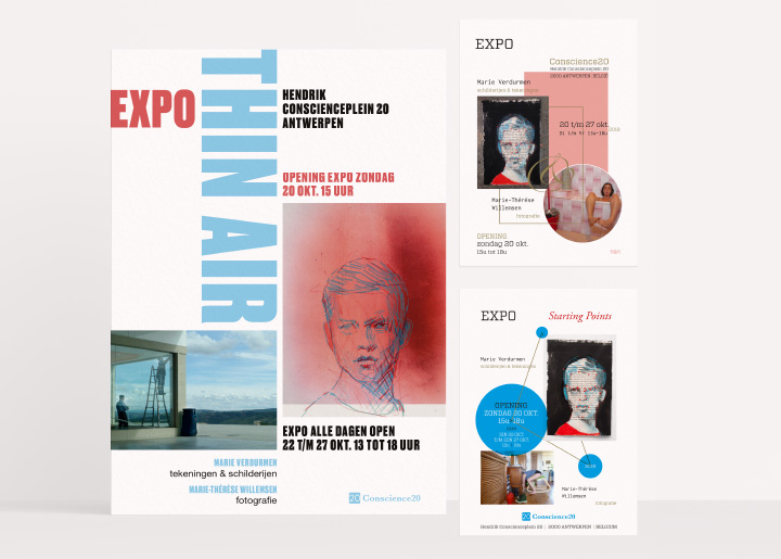 Design two try-outs & final poster with Marie Verdurmen for our first expo in gallery Conscience20 Antwerp (Belgium) with paintings, drawings (Marie V.) & photos (Marie-Thérèse Willemsen). Opening 20 Oct 3 p.m., welcome !