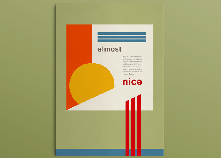 Graphic design experiment, 'almost nice', with Spring & Summer in mind ... 'Nice is a city in the south of France on the Mediterranean, between Marseilles and Genoa ...