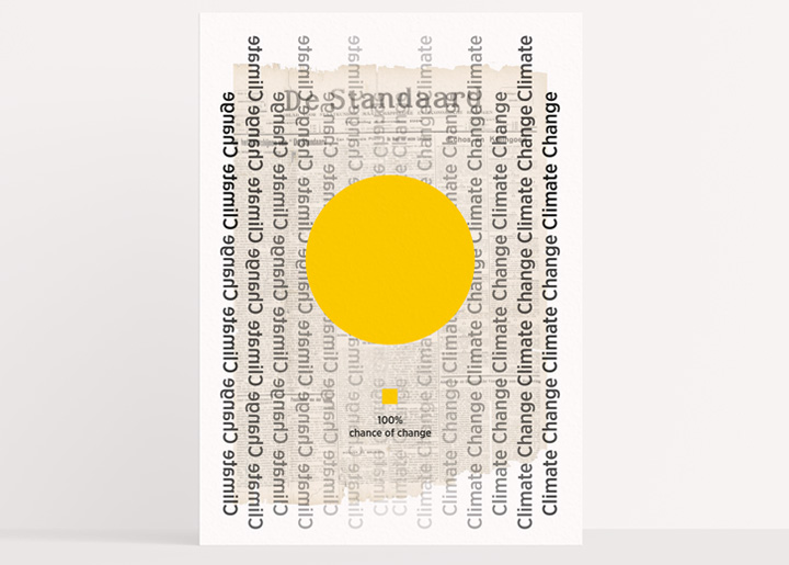 Design poster with data visualisation Climate Change , '100% chance of Change'. Collage with newspaper & sunlight ... ;-)