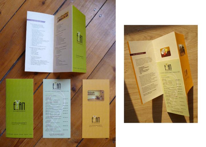 ontwerp folder met uitneembare 'inlay' (contactgegevens medewerkers) voor Elan-Groepspraktijk in Merksem (geestelijke gezondheidszorg)