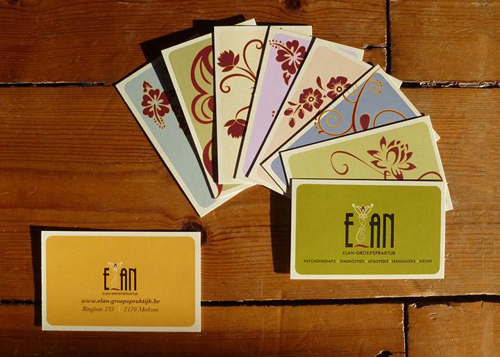 ontwerp visitekaartjes & logo (corporate design) 'Elan-Groepspraktijk in Merksem', geestelijke gezondheidszorg