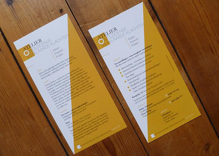 ontwerp flyer (en voorlopig logo) 'Atelier Onvoldoende Verklaarde Klachten' in 't Werkhuys te Antwerpen