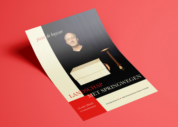 ontwerp flyer voorstelling Pieter De Buysser (schrijver, film- en theatermaker): 'Landschap met Springwegen' mei 2017 in CC Maasmechelen