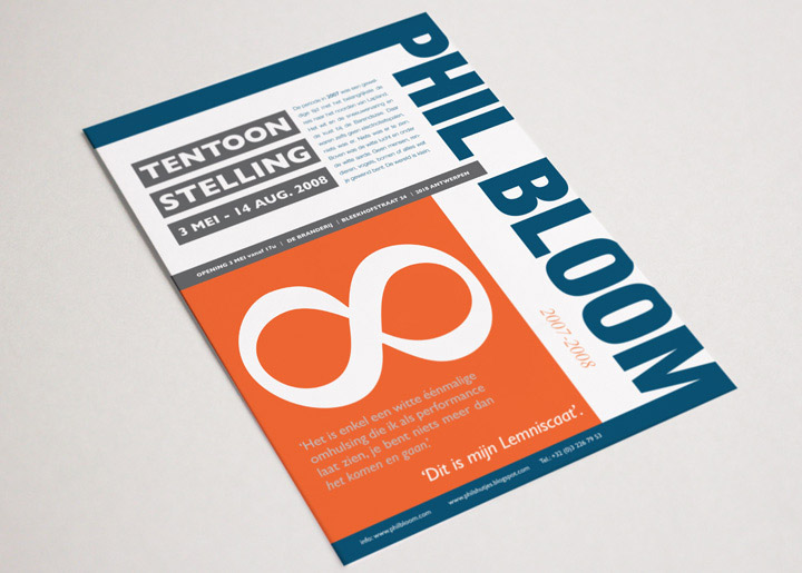 ontwerp flyer/kaart tentoonstelling Phil Bloom 'Lemniscaat' - variant