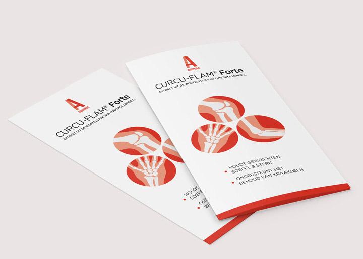 ontwerp brochure Amophar 'Curcu-Flam Forte', product in tabletvorm dat het behoud van kraakbeen ondersteunt en soepele & sterke gewrichten bevorder