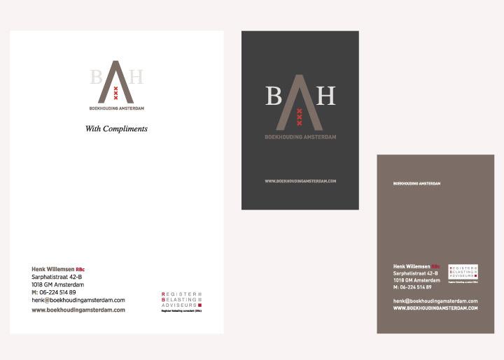 ontwerp logo, huisstijl en ontwerp & ontwikkeling site 'Boekhouding Amsterdam' / www.boekhoudingamsterdam.com