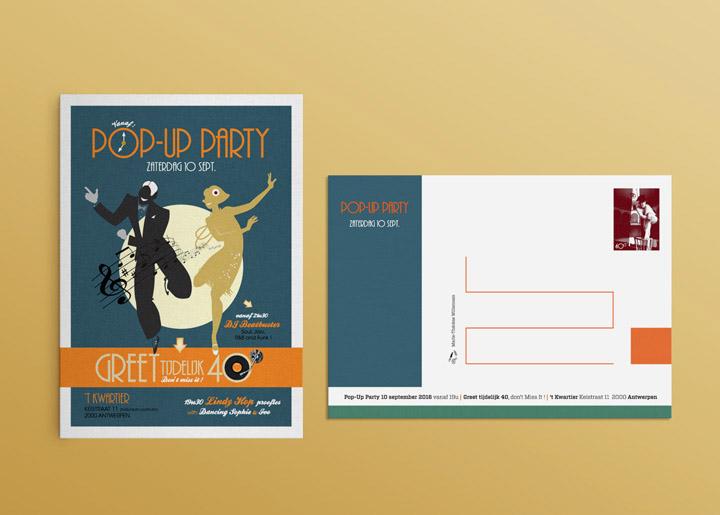 ontwerp & idee uitnodiging / kaart Pop-Up Party 'Greet tijdelijk 40' !