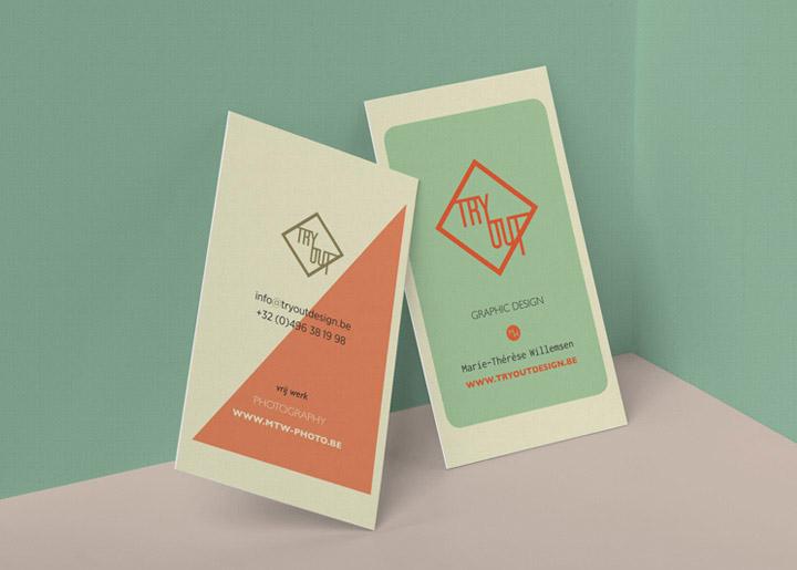 ontwerp nieuw visitekaartje & logo (2017) 'TryOutDesign', grafisch bureau in Schoten - Antwerpen