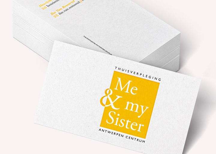 Ontwerp visitekaartje & logobeeld 'Me and my Sister' - Thuisverpleging Antwerpen