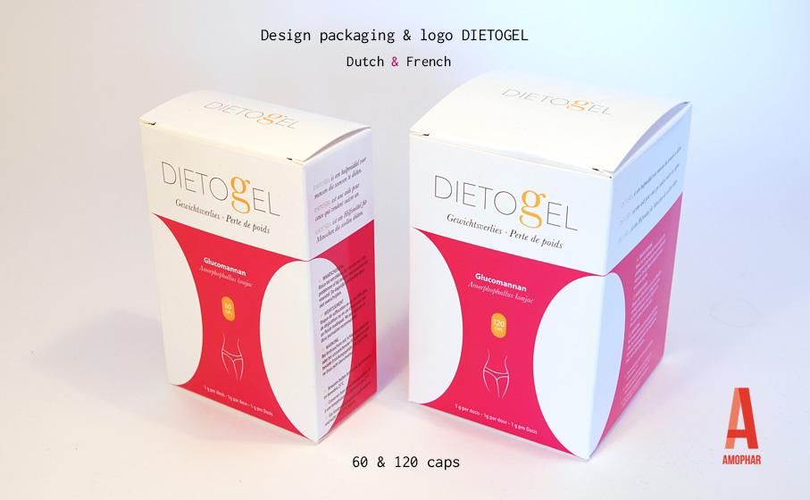 Ontwerp packaging & logo Dietogel van Amophar. Dietogel is een hulpmiddel voor mensen die wensen te diëten in 60 & 120 caps.