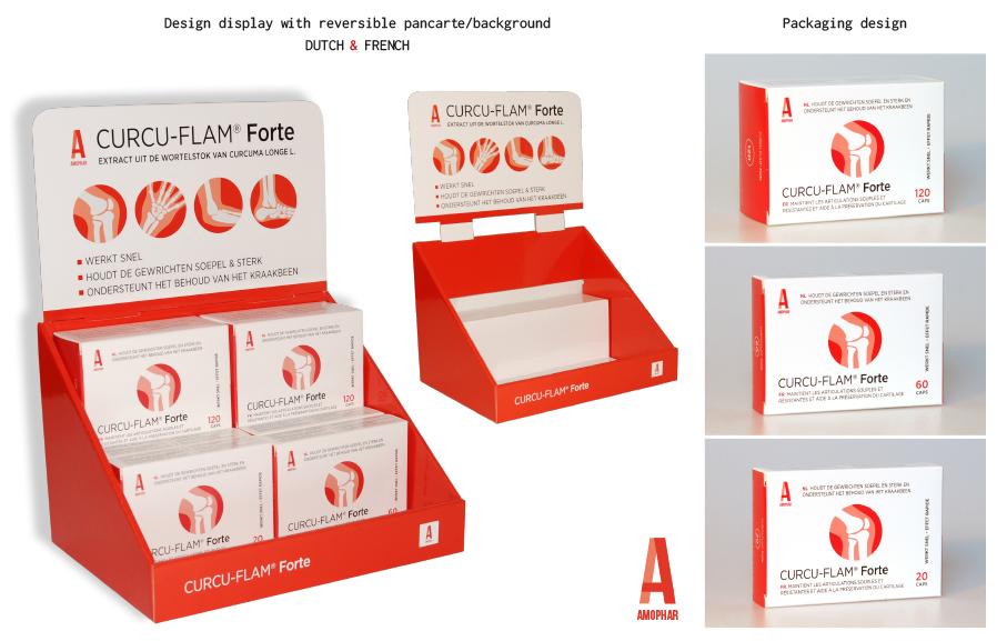 Packaging Design Curcu-Flam Forte van Amophar, tabletten die soepele & sterke gewrichten bevorderen en het behoud van kraakbeen ondersteunen.