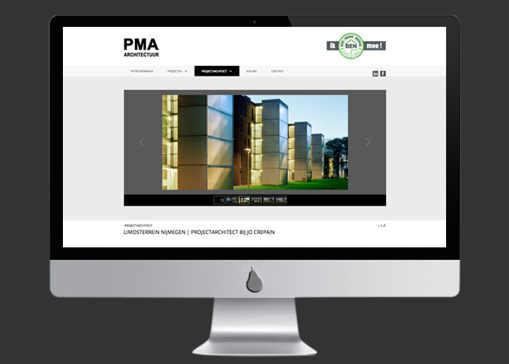 website ontwerp & ontwikkeling (Joomla CMS) voor Architect Peter Mermans | PMA Architectuur Antwerpen: www.petermermansarchitect.be